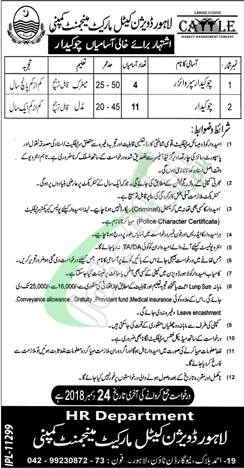 Lahore Division Cattle Market Management Company Jobs