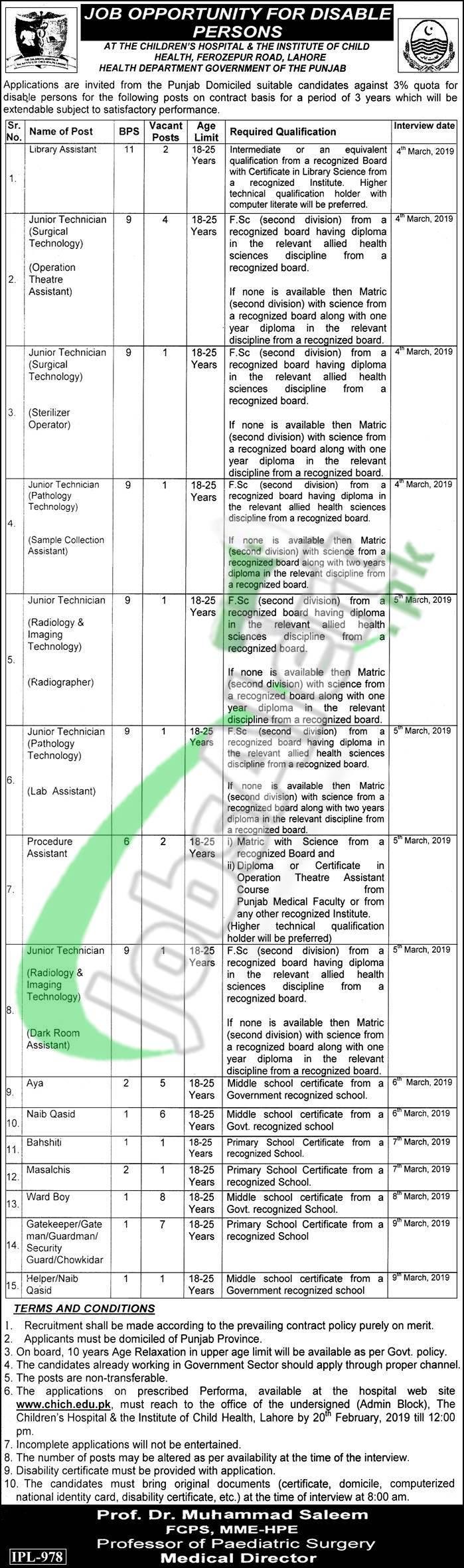 Children's Hospital & The Institute of Child Health Lahore Jobs