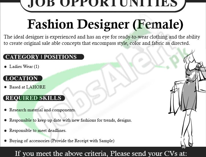 Fashion Designer Jobs In Lahore 2018 Freelance Attractive Salary Jobs In Pakistan