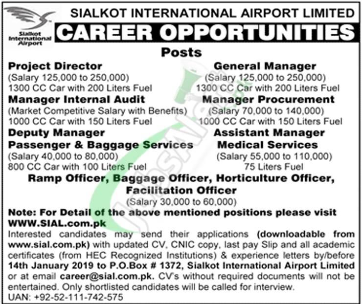 Sialkot Airport Jobs 2019