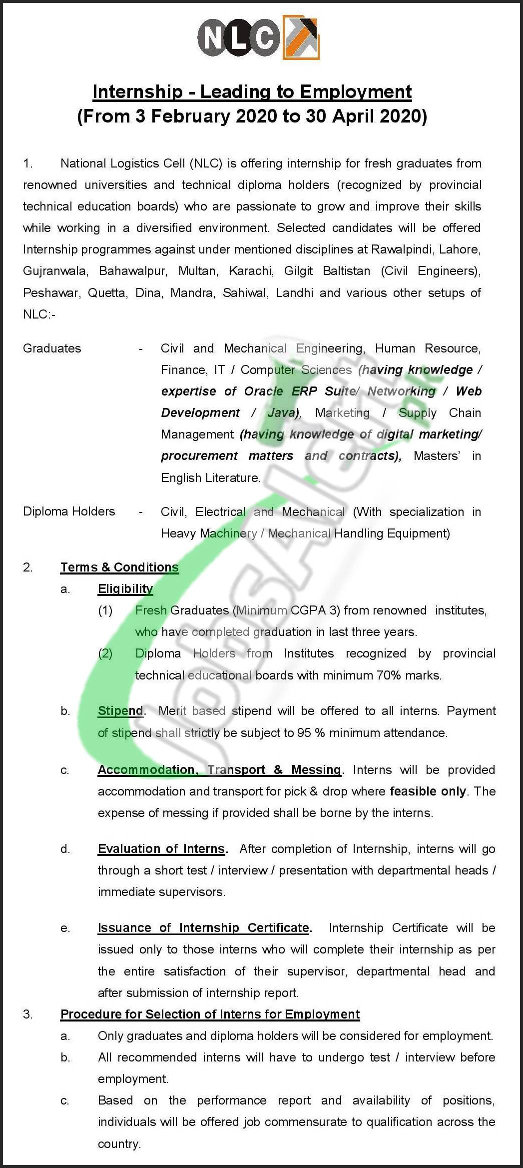 National Logistic Cell Internship - Leading To Employment