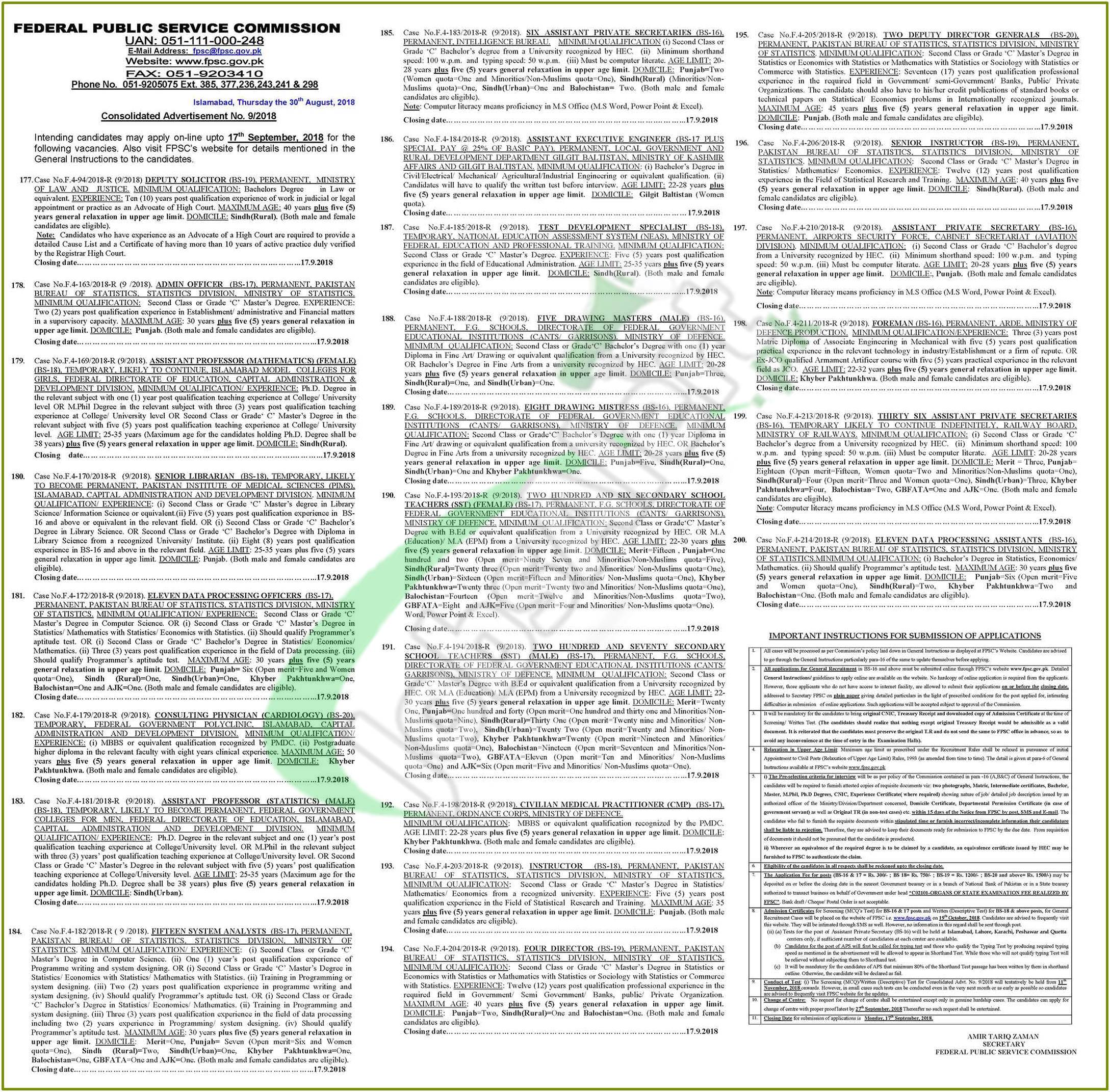 Federal Government Education Jobs 2018 Institutions Cantt/Garrisons
