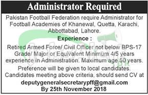 Pakistan Football Federation Jobs