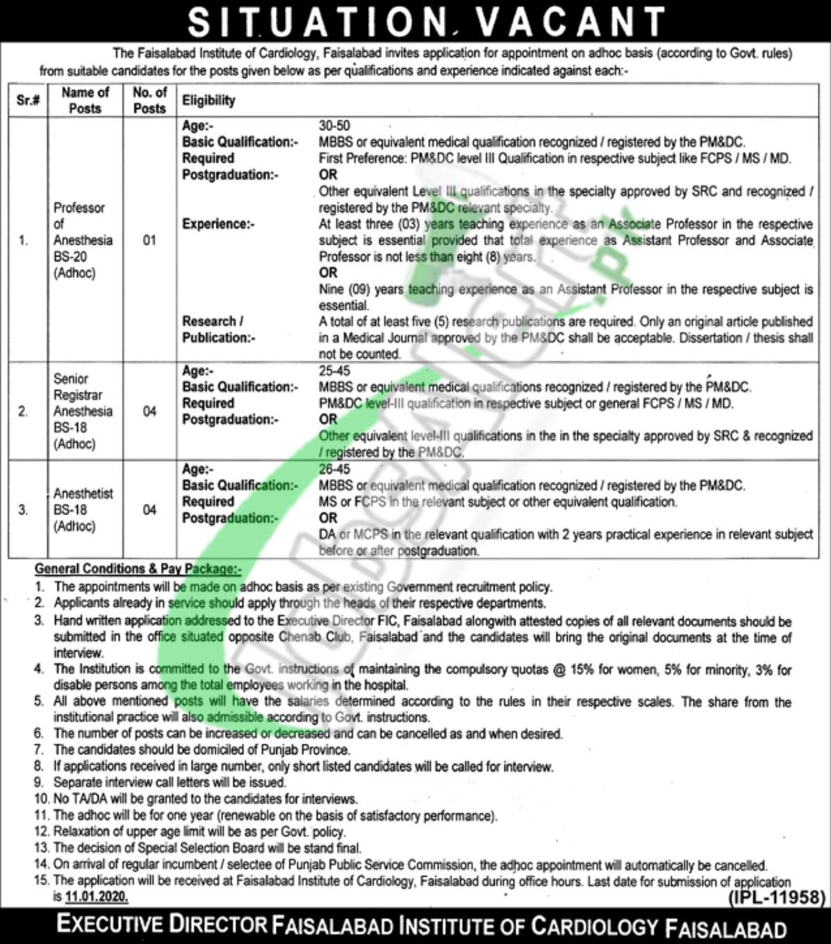 Situation Vacant Faisalabad Institute of Cardiology