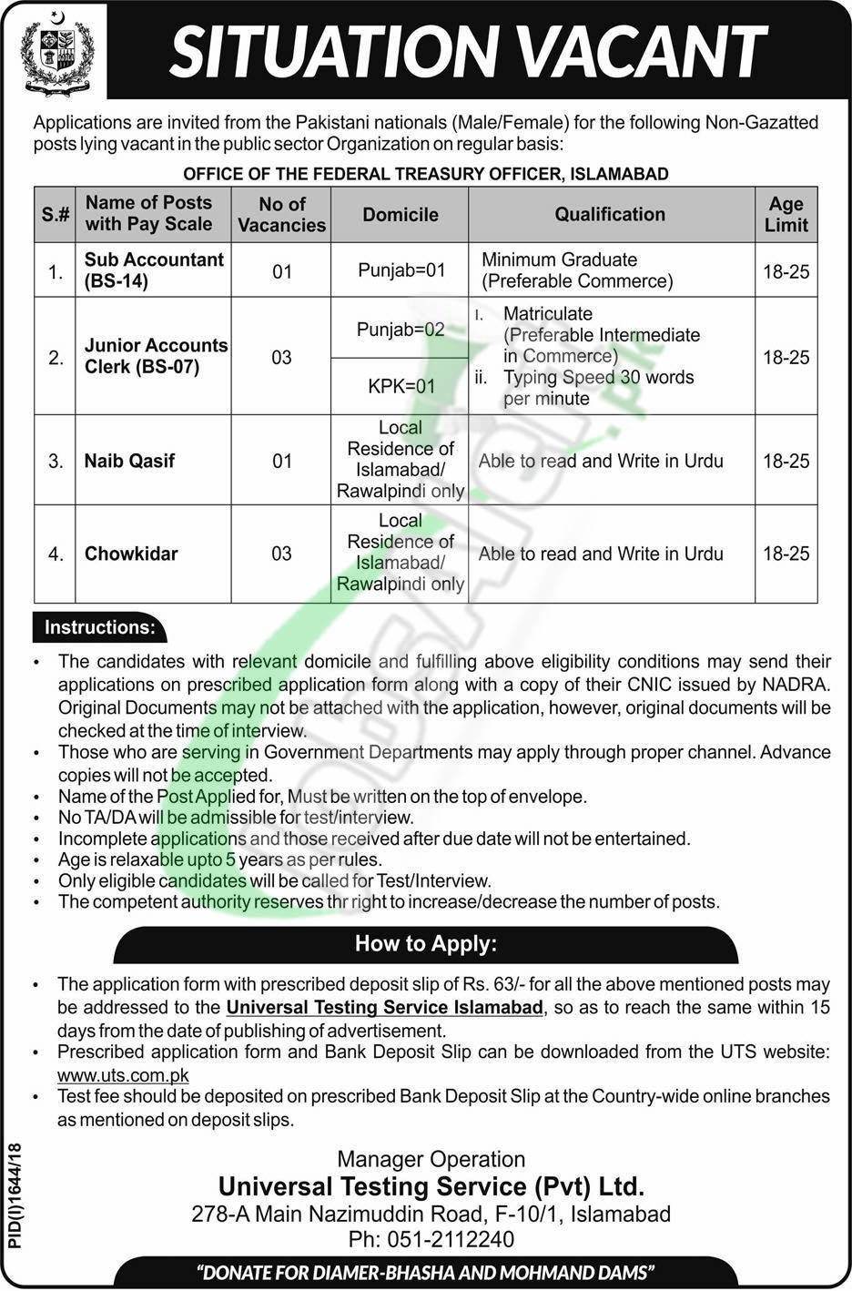 Federal Treasury Office Islamabad Jobs