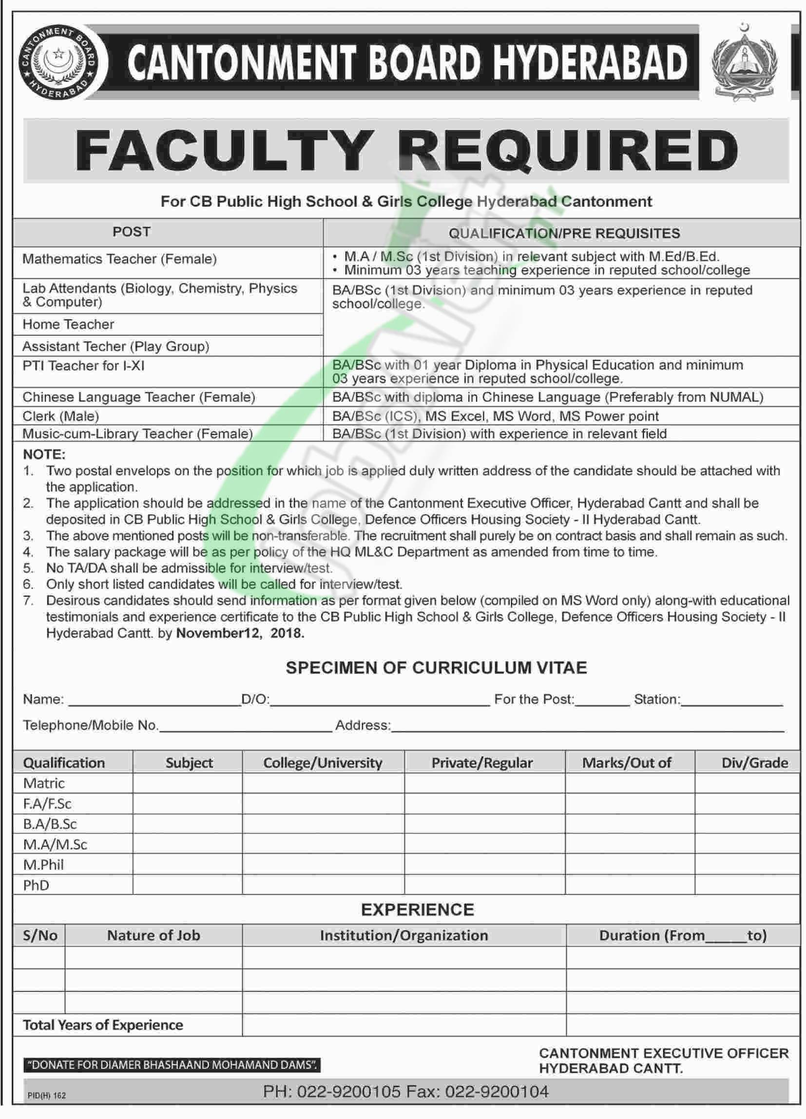 Cantonment Board Hyderabad Jobs