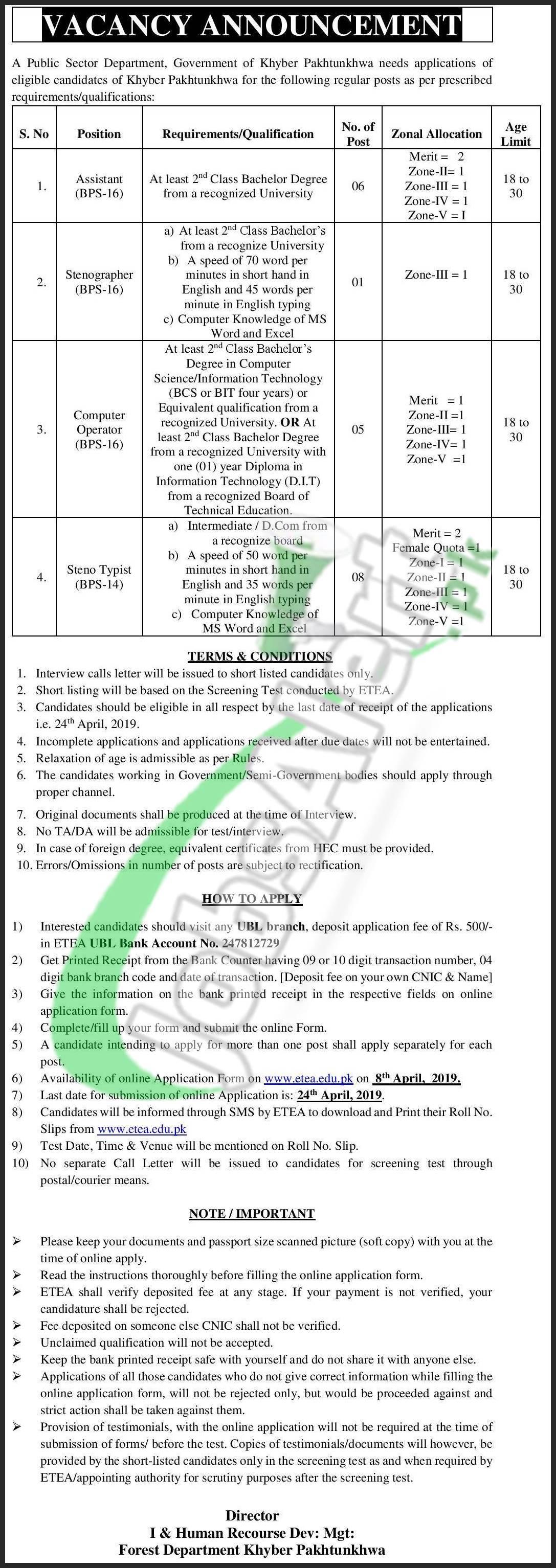 Forest Department KPK Jobs 2019