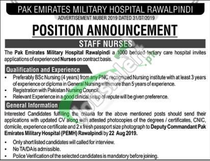 Pakistan Emirate Military Hospital Rawalpindi Jobs 2019
