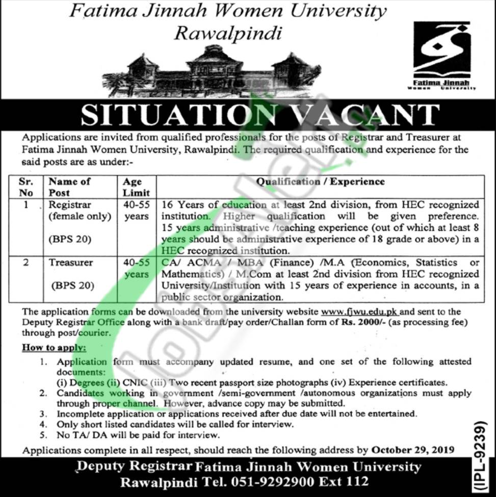 Fatima Jinnah Women University Jobs 2019