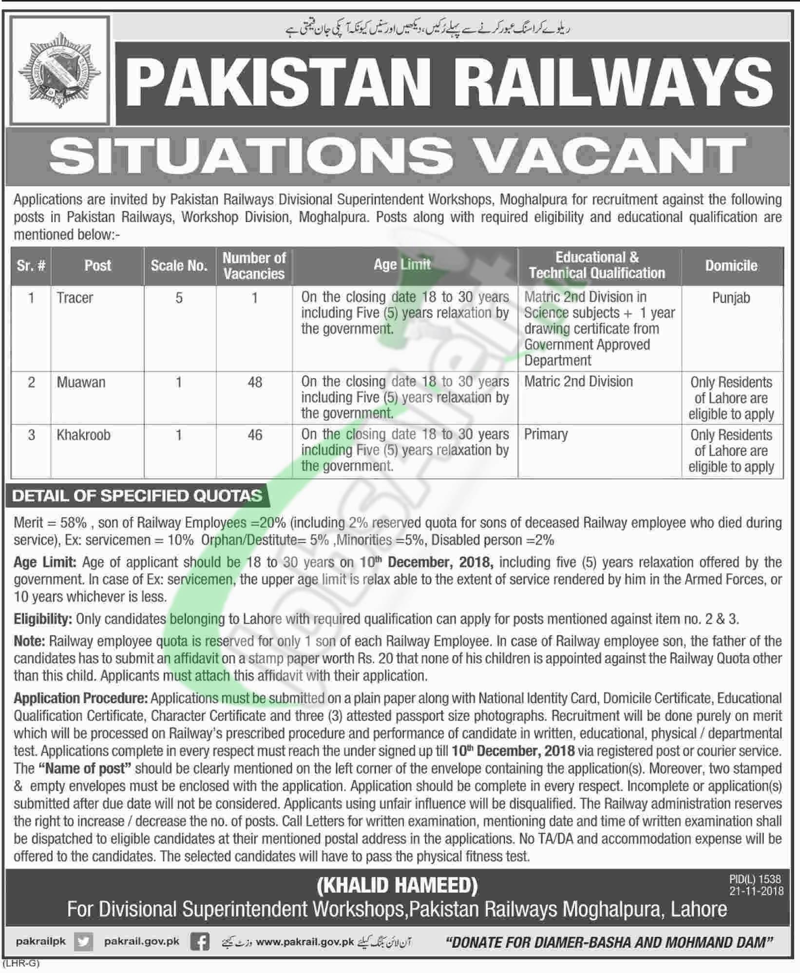 Railway Jobs in Lahore 2018