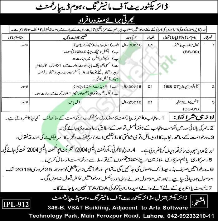 Home Department Punjab Jobs 2019