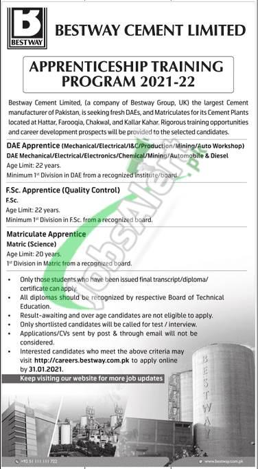 Bestway Cement Apprenticeship 2021