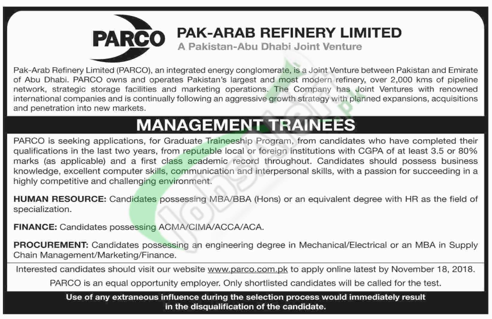 PARCO Jobs 2018