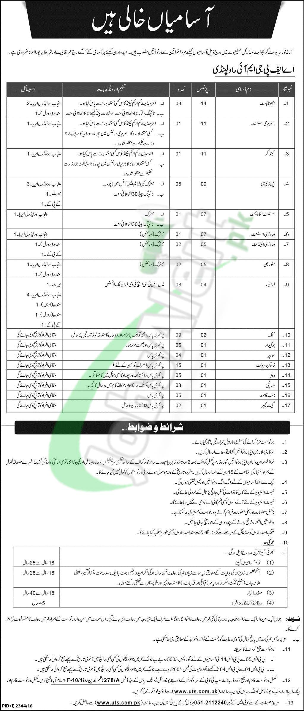 Armed Forces Postgraduate Medical Institute Rawalpindi Jobs