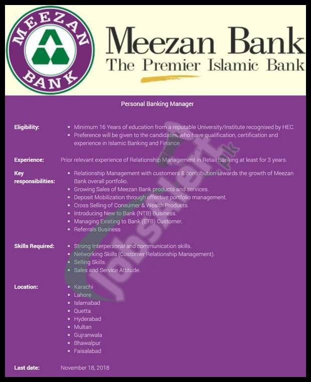 Meezan Bank Jobs 2018
