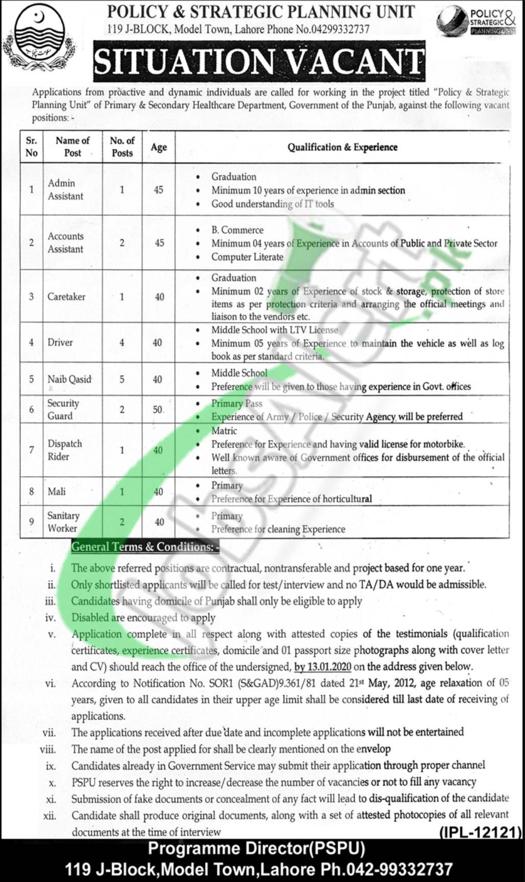 Situation Vacant Primary and Secondary Healthcare Department