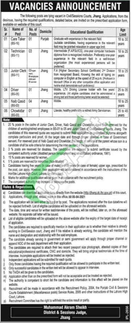 Session Court Jhang Jobs