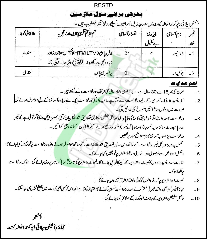 Supply Depot Gujranwala Cantt Jobs