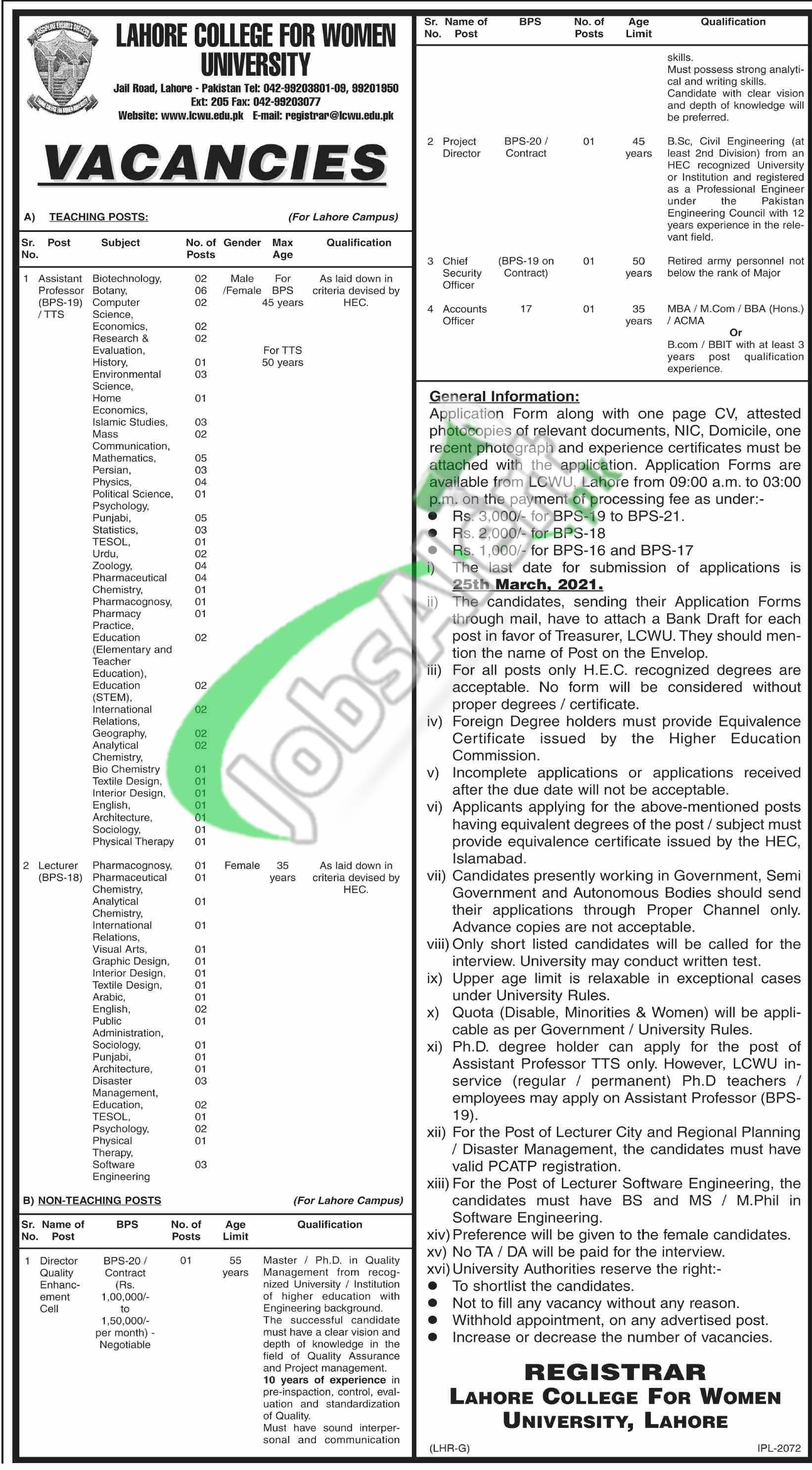 Lahore College Women University Jobs