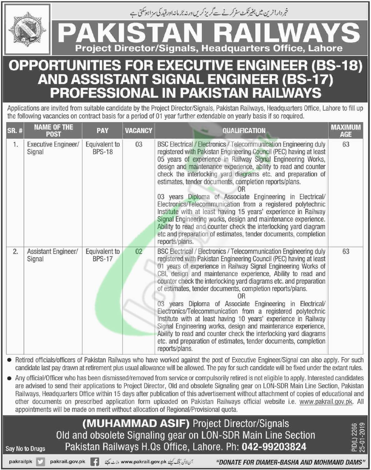 Railway Jobs in Lahore 2019