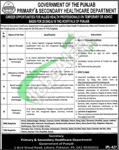 Primary and Secondary Healthcare Department Jobs 2019