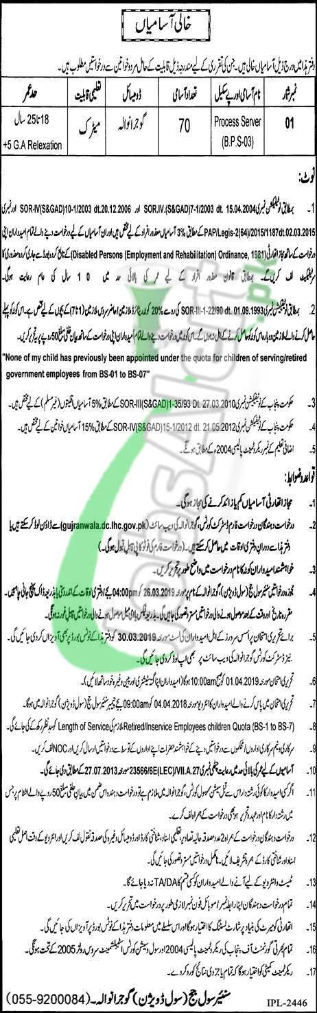 Civil Court Gujranwala Jobs