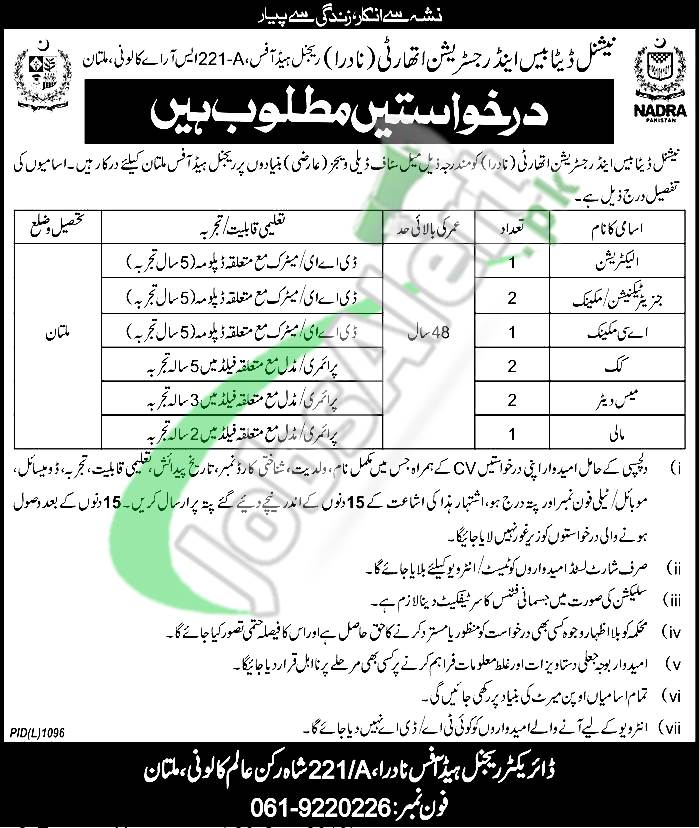 NADRA Jobs in Multan 2019
