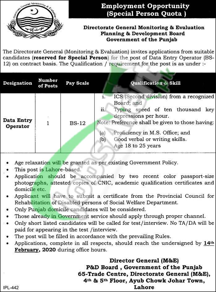 Directorate General Monitoring & Evaluation Planning & Development Board Government of the Punjab