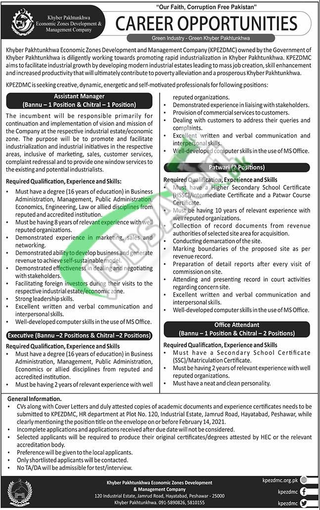 KPK Economic Zone Development & Management Company Jobs