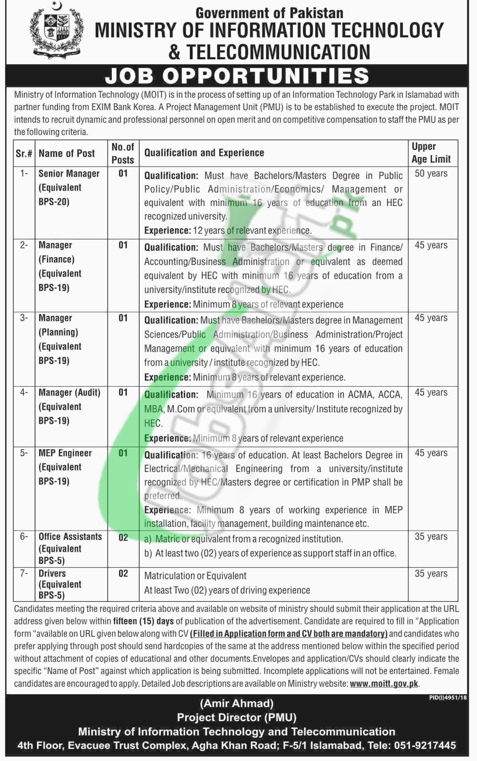 Ministry of IT Jobs 2019