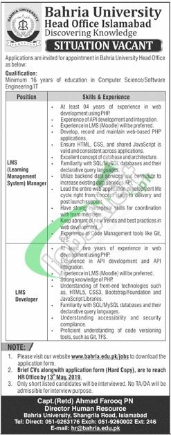 Bahria University Islamabad Jobs 2019
