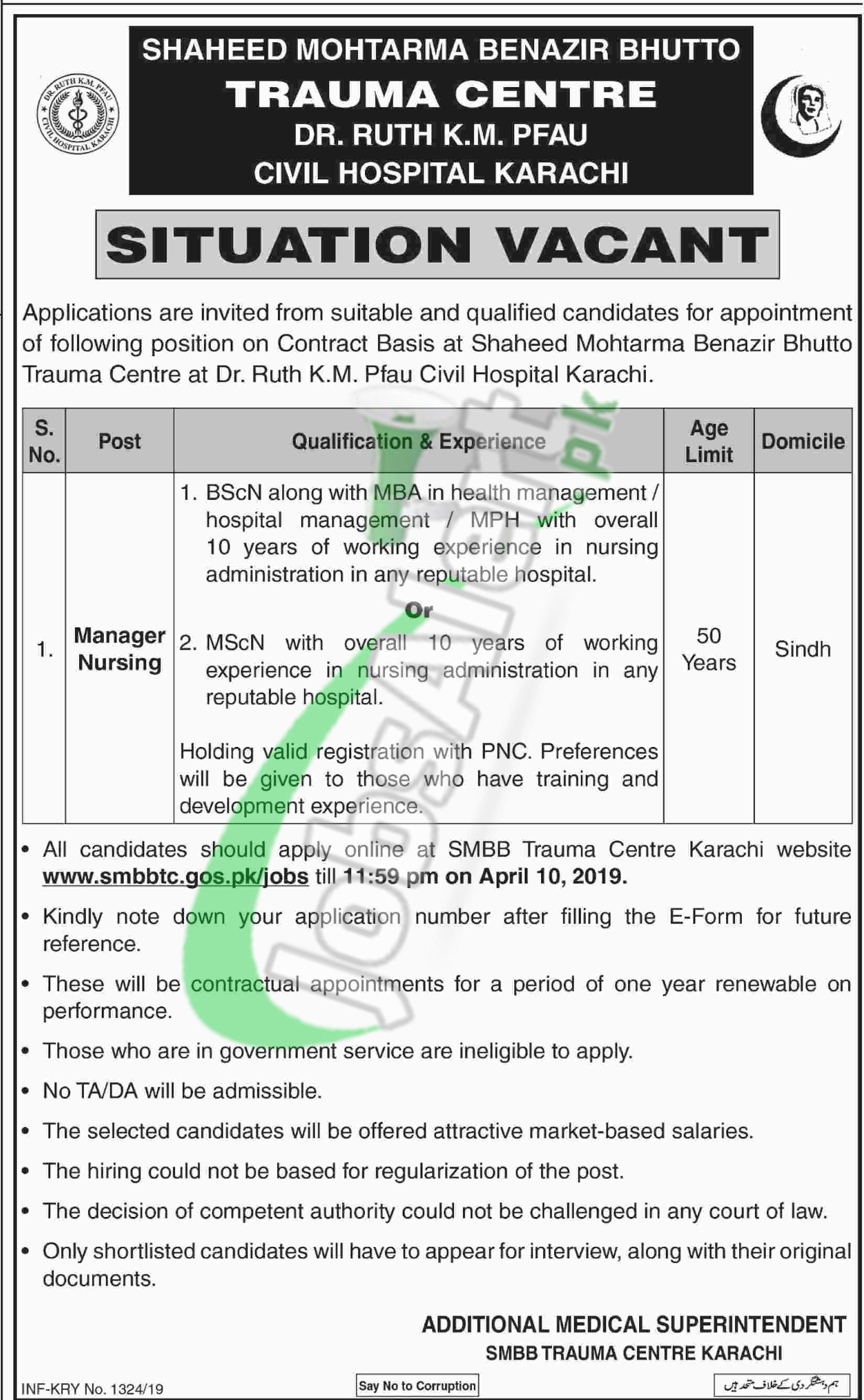 SMBB Trauma Center Karachi Jobs 2019