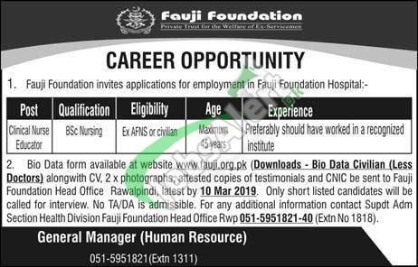Fauji Foundation Hospital Rawalpindi Jobs 2019