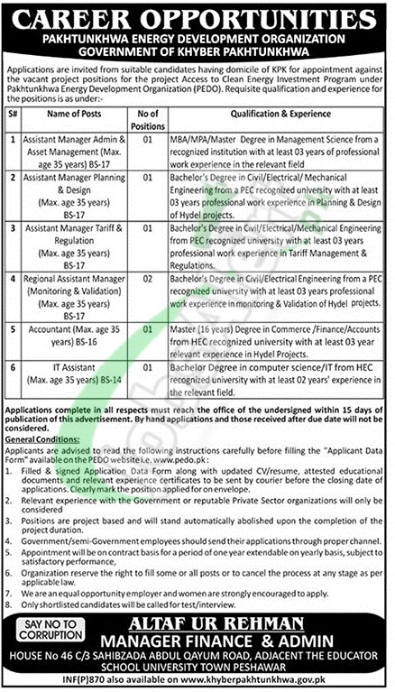 Pakhtunkhwa Energy Development Organization Jobs 2019