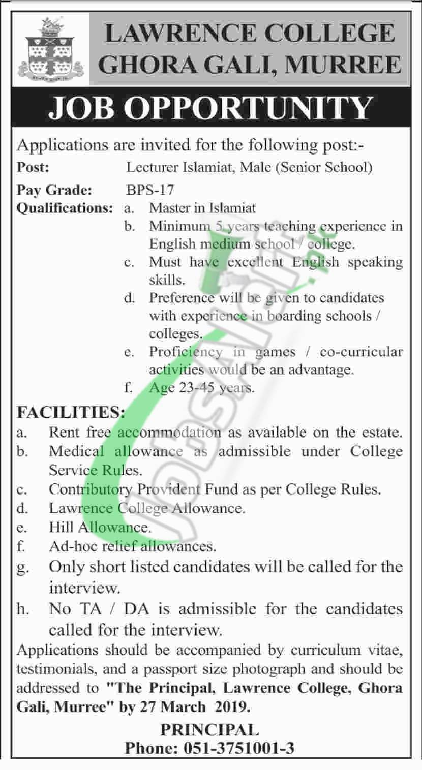 Lawrence College Murree Jobs 2019