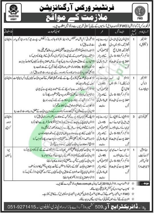 www.fwo.com.pk Jobs 2019