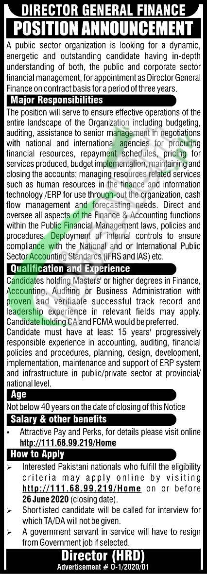 Director General Finance Jobs