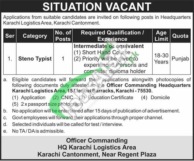 Headquarter Karachi Logistics Area Jobs