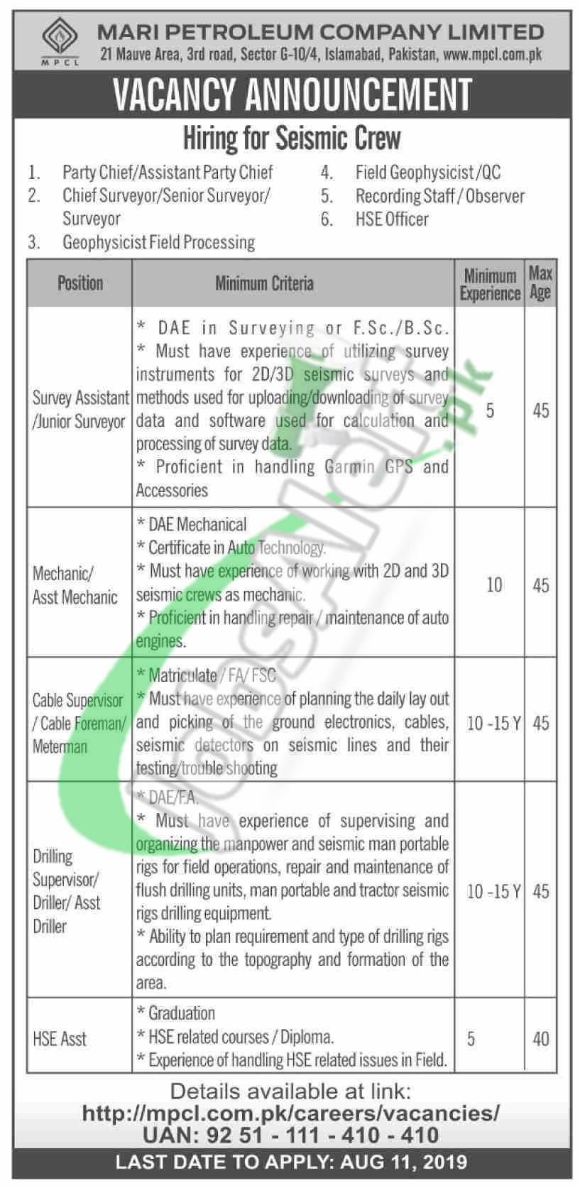 Mari Petroleum Company Limited Jobs 2019