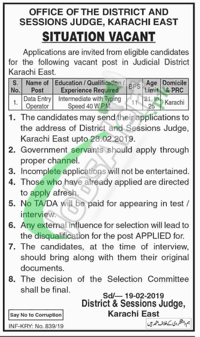 District and Session Court Karachi East Jobs 2019