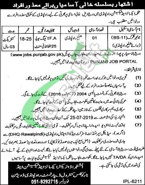 Excise and Taxation Rawalpindi Jobs 2019