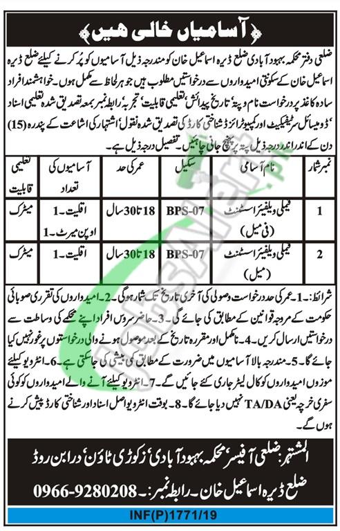 Population Welfare Department DI Khan Jobs 2019