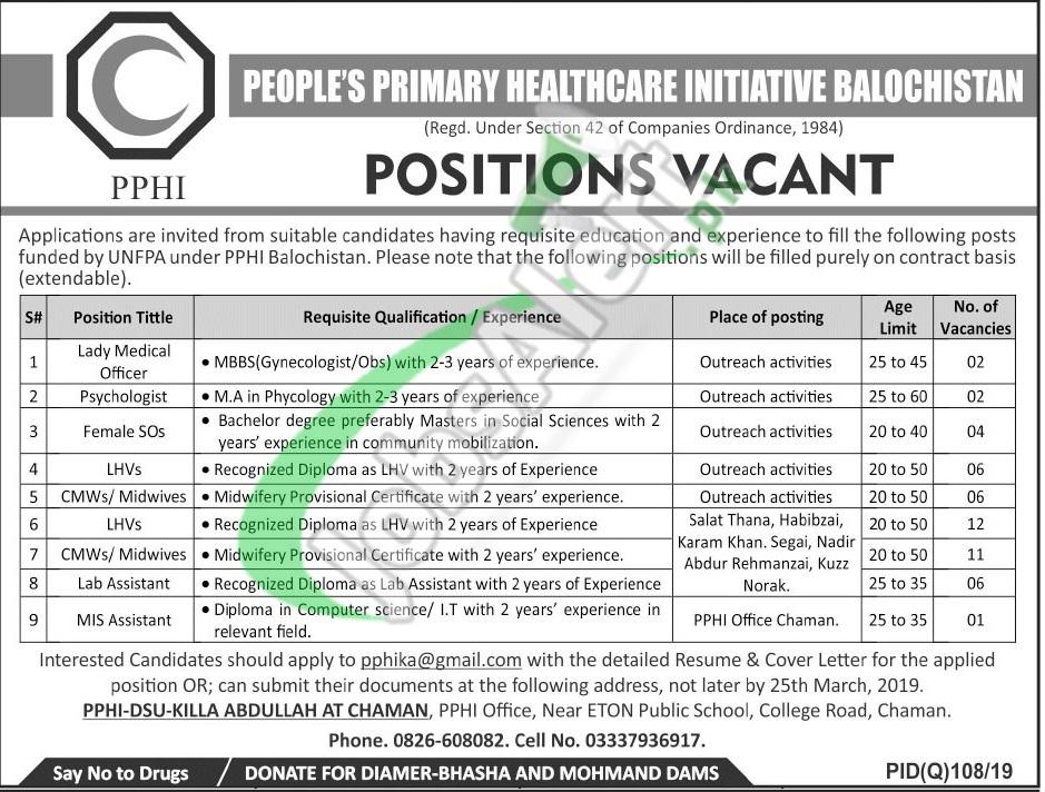 PPHI Balochistan Jobs