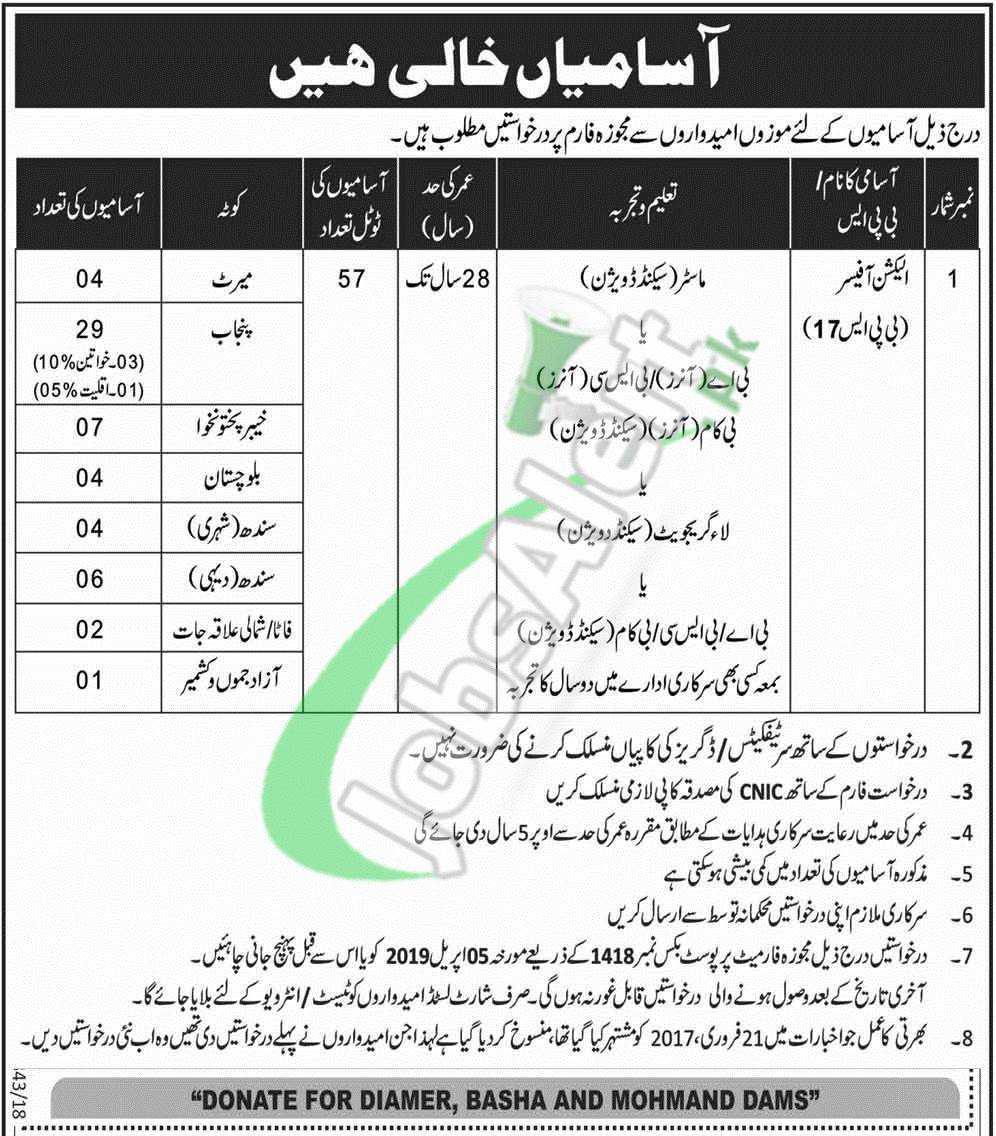 ECP Election Commission of Pakistan Jobs 2019 Application