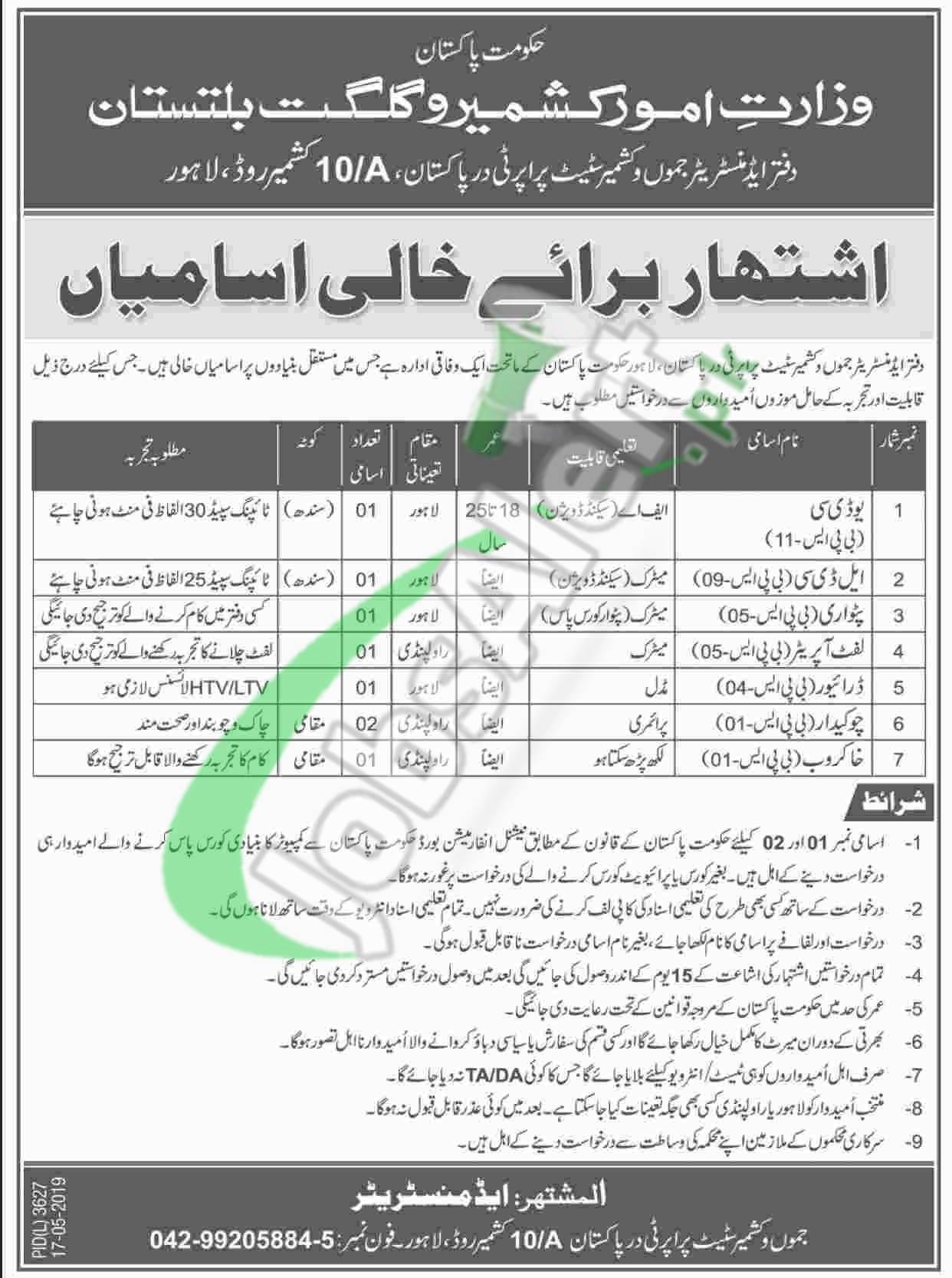 Ministry of Kashmir Affairs Jobs 2019