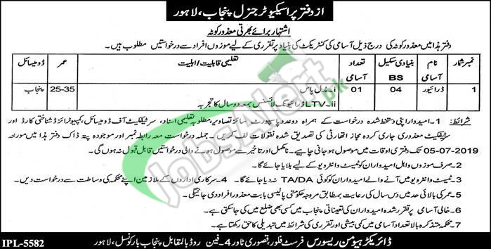 Prosecutor General Punjab Lahore Jobs 2019
