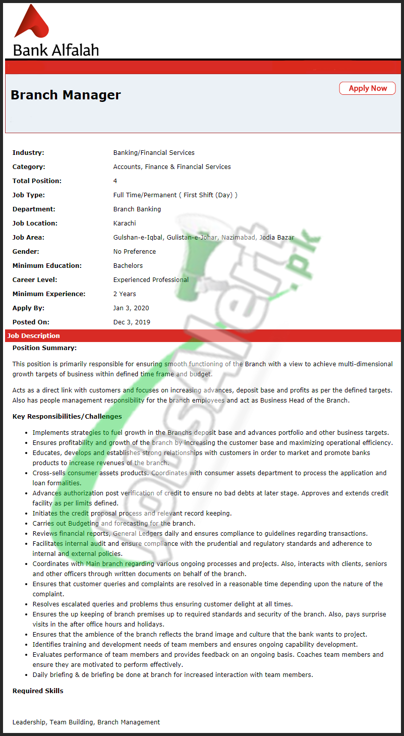 Bank Alfalah Manager Jobs 2020 Karachi Sindh