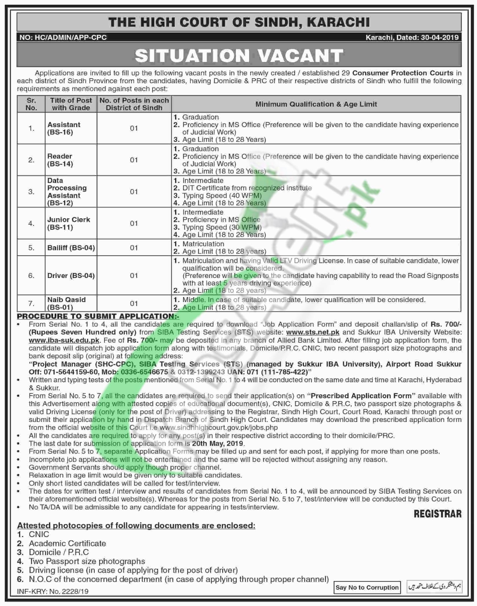 Sindh High Court Jobs 2019 Application Form | www