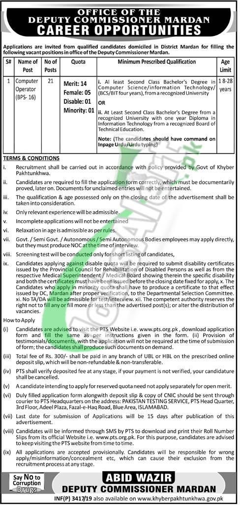 Commissioner Office Mardan Jobs