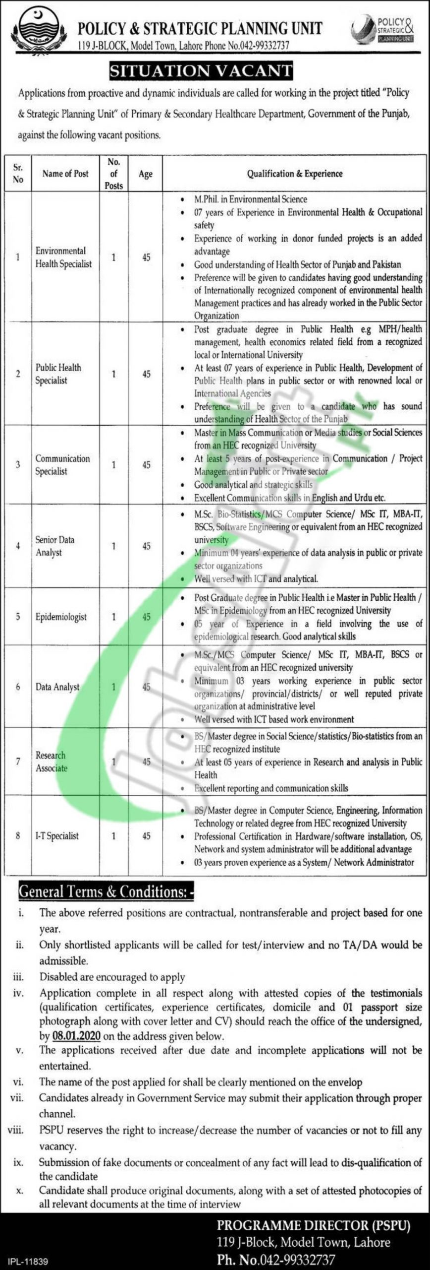 Policy & Strategic Planning Unit, Primary and Secondary Healthcare Department Punjab